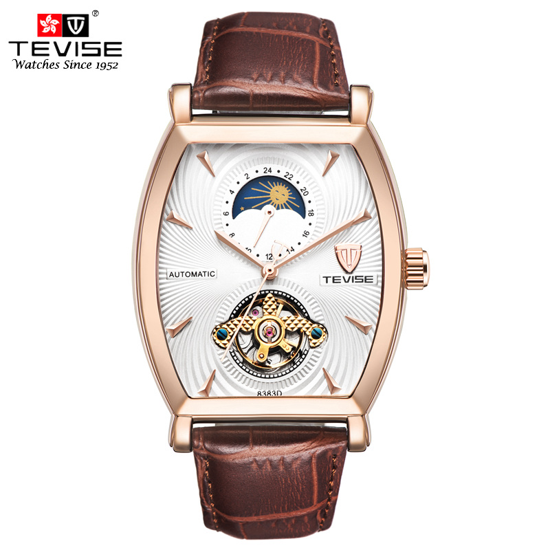 Tevise Mechanical Automatic Watch Men Business Tourbillon Top Luxury Brand Relojes Hombre Leather Moon Phase Watches 8383D<br>