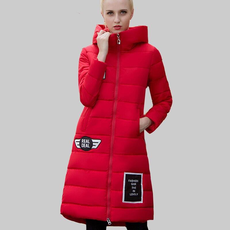 New Korean Long Women Winter Down Cotton Coat Plus Size Elegant Ladies Fashion Coats and Jacket Print Hooded Warm Parka JA656Одежда и ак�е��уары<br><br><br>Aliexpress