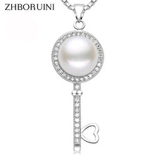 ZHBORUINI Pearl Necklace Natural Freshwater Pearl Key Pendants 925 Sterling Silver Jewelry For Women Fashion Jewelry Accessories