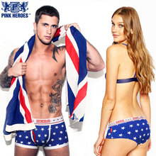 Pink Heroes Fashion Couple Panties Underwear Stars Printed Hot Brand Men Boxers Women Lingerie Homme Cuecas Male Lady Underpants(China)
