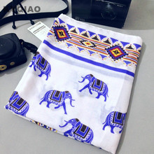 KYQIAO Ladies scarf 2017 women French style vintage design long wide white blue elephant print scarf beach towel birthday gift