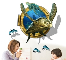 3D impression large sea turtle wall sticker decals ocean fancy animal vinyl poster children home nusery bathroom toilet  decor