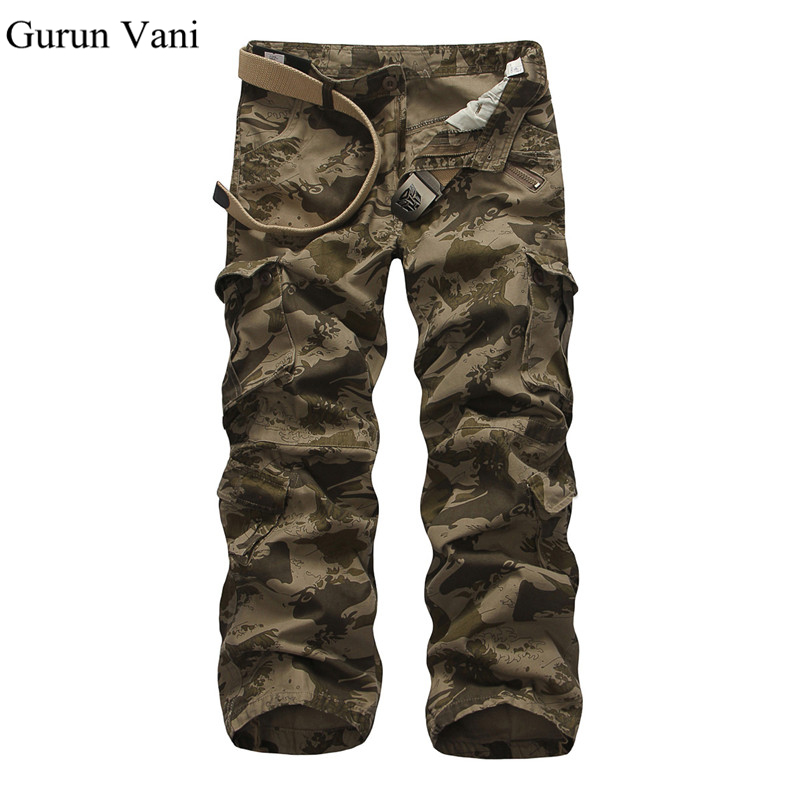 Fashion Brand Clothing Mens Multi Pocket Trousers Loose Cotton Army Military Camouflage Camo Uniform Pants Cargo Pant For Men(China (Mainland))