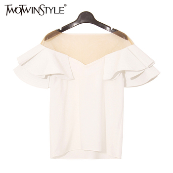 [TWOTWINSTYLE] 2017 Printemps Ruches Manches Spliced Voir À Travers Mash de Sexe Dames T shirt Femmes Tops Nouvelle Mode Clothing