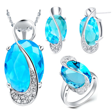 Unique Blue Zircon 925 Sterling Silver Wedding Jewelry Sets Pendant/Necklace/Studs Earring For Women Free Gift Bag SCT299