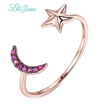 I&zuan 14K Gold Rings Natural 0.033ct Stone Star&Moon Rings Prong Setting Trendy Simple Ring Fine Jewelry for woman gift
