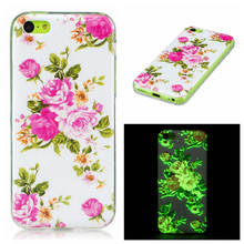 Glow Case 3D Printed case For iPhone 5C Ultra Thin butterfly Flower Slim Soft Silicone Phone Cases TPU Light Cover For Iphone 5C