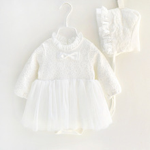 2017 New Fall Baby Girl Cotton Lace Tutu Formal Dress Cap White Princess Rode Dresses Infant Girls Clothes Born 3m 6m 1t Gift(China)