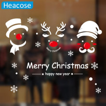 merry christmas wall sticker santa claus deer wall decal window glass Xmas decoration for home market mural art wallpaper(China)