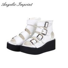 Women Lolita Cosplay Punk Rock Platform Sandals Wedge Shoes Open Toe Gladiator Sandals Boots BLACK/WHITE/SILVER(China)