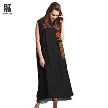 Outline Summer Women Dress Linen Plus Size Sleeveless Dress Embroidery Patchwork Raw Edge Stand Collar Mid Calf Dresses L172Y018