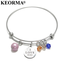 KEORMA Luxury Brand Love Bracelet Women Stainless Steel Accessories Simulated Pearl Expandable Bangle&Bracelet For Women Jewelry(China)