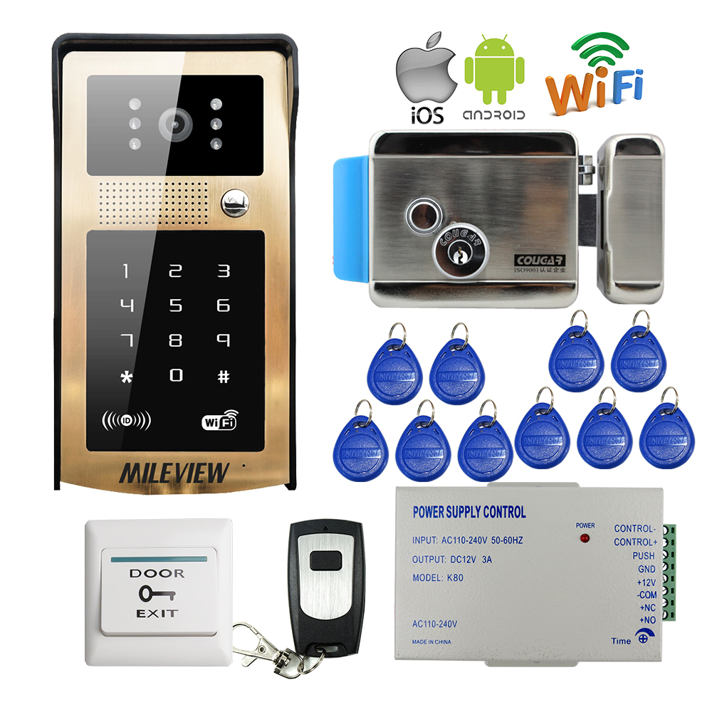 Free Wireless Wifi Video Door Phone Intercom Metal Doorbell Touch RFID Code Keypad Android IOS Phone Electric Lock