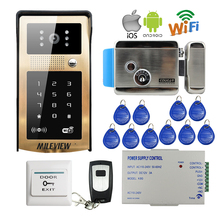 Buy Free Wireless Wifi Video Door Phone Intercom Metal Doorbell Touch RFID Code Keypad Android IOS Phone Electric Lock for $159.08 in AliExpress store