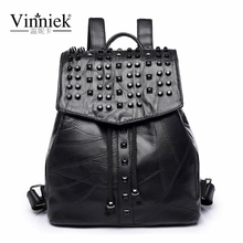 Vinniek Genuine Leather Backpack Travel Backpack Women Fashion Female Backpack School Bags For Teenagers Rivet Bagpack Sheepskin(China)