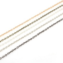 Rhodium/Silver/Gold/GunMetal/Bronze 5m/lot 3x2mm Metal Plated Necklace Chains Fitting For make necklace bracelets