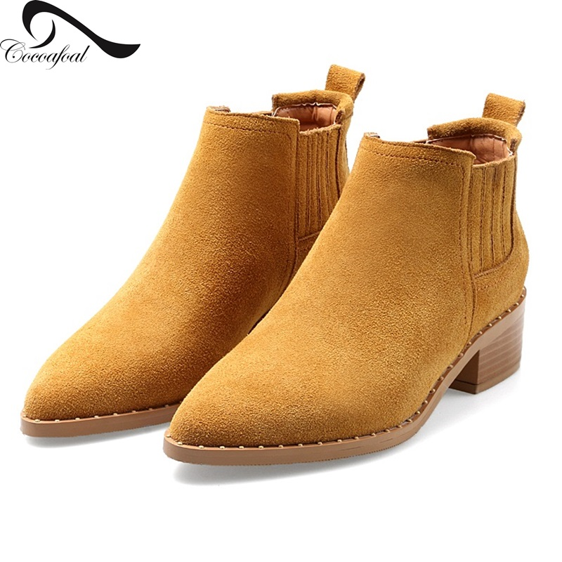 2017 Natural leather Elegant fashion low-key luxury Europe United States latest Women Ankle Boots British style nubuck leather<br><br>Aliexpress
