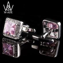 Fashion Luxury Pink Zircon Shirt Cufflinks For Mens Women Fashion Wedding Dress Cuff Links Gemelos Cuff Buttons Men Jewelry