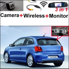 3 in1 Special Rear View Camera + Wireless Receiver + Mirror Monitor DIY Back Up Parking System For Volkswagen VW Polo GTi Derby