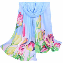 XQ228 Women Ladies Large Flowers Pattern Print Chiffon Scarf Warm Wrap Shawl