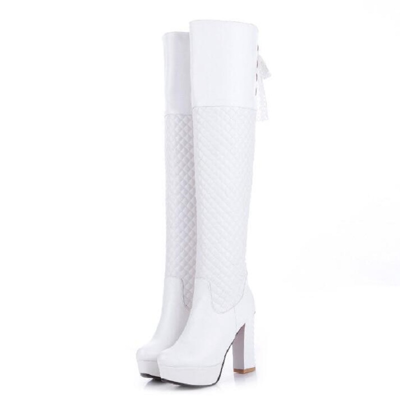 new arrival round toe back strap knee high boots women Fashion elegant thick high-heels heel wedding shoes platform check boots <br><br>Aliexpress