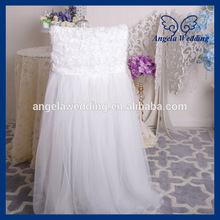 CH019G New 2017 wedding rosette chiffon top high back puffy tutu ivory tulle chair cover