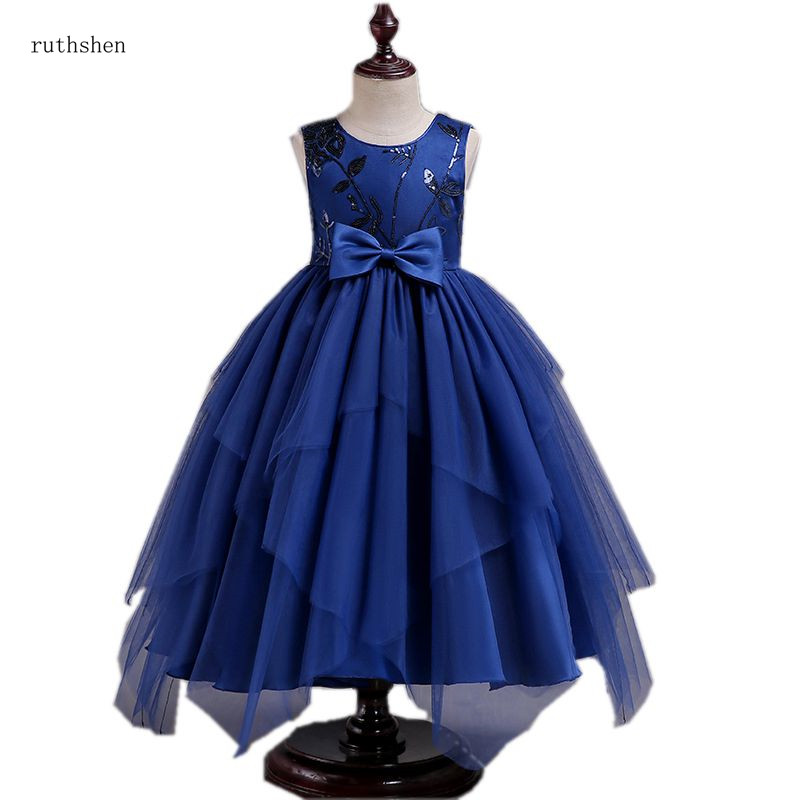 ruthshen Flower Girl Dress With Tiered Tulle Navy Blue Pageant Dresses Princess Ball Gown Dress For Little Girl 2018 New Arrival