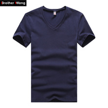 Large size men's short-sleeved T-shirt Summer new solid color Slim casual v-neck T-shirt 2017 simple fashion men clothing trends(China)