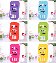Fragrance M&M'S Chocolate 3D Cartoon Candy Colorful Rainbow Beans Soft Silicon Rubber Case for Samsung Galaxy S 3 III mini i8190