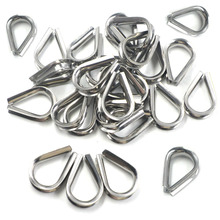 Winch Wire Loop, Silver Tone M8 304 Stainless Steel Galvanized Wire Cable Rope Thimble, a Pack of 30