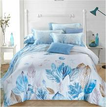 New fashion modern 100% natural silk charming tree leaves 1.5m/1.8m/2.0m bed 4pcs comforter cover bed sheet pillowcase set/B3576
