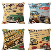 18'' Square Rustic American Style Bus Route Linen Cushion Covers Pillowcase Home Decoration Sofa Decor Customized Drop Shipping(China)