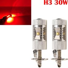 H3 30W LED Red Super Bright Fog Tail Turn DRL Head Car Light Lamp Bulb