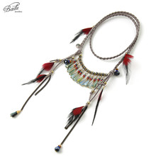 Badu Gypsy Feather Nekclace Long Gray Braided Suede Vintage Long Necklaces Crystal Pendant Christmas Party Gift Jewelry(China)