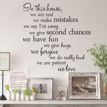 Home Decor Living Room DIY Black Wall Art Decals Removable House Rules Vinyl Quote Wall Stickers