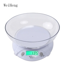 WeiHeng 7kg / 1g LCD Kitchen Electronic Scale Food Weighing Tool With Bowl Baking Scales Medicine Food Electronic Platform Scale