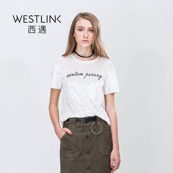 Westlink 2017 Printemps Nouveau Velours Lettres Broderie D'o-Cou Pull À Manches Courtes Base Femmes Blanc T-shirts
