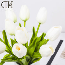 DH 10pcs/lot Tulip Vintage PU Real Touch Artificial flowers bouquet cheap fake flower for Home christmas wedding decoration
