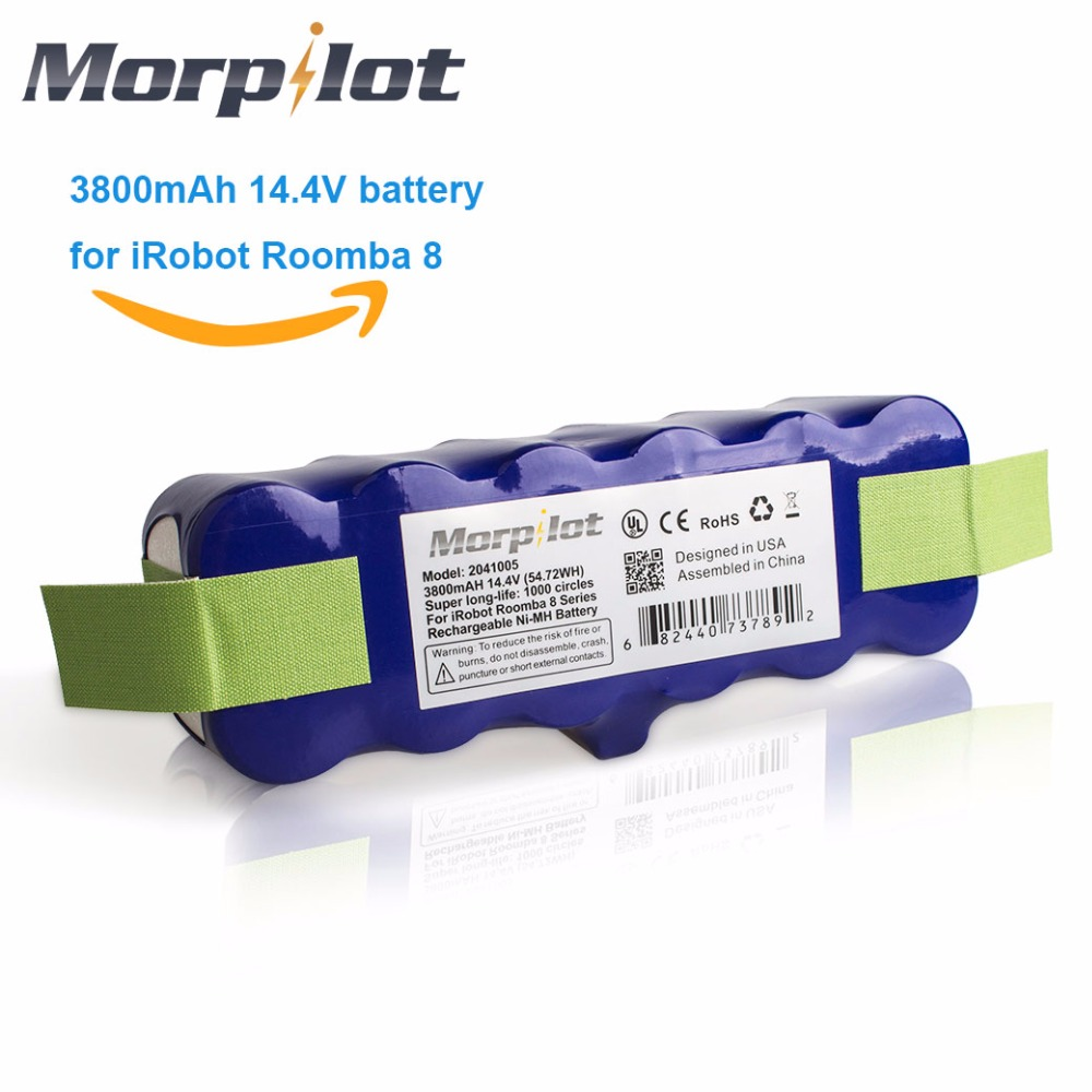 Morpilot 3800mAh 14.4V Xlife Extended 1000-Circles Ni-MH Battery for iRobot Roomba 500 600 700 800 510 530 531 570 580 595 780<br>