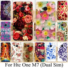 Soft TPU Painted Case for HTC ONE M7 802W (Dual Sim ) 802D 802T 801E Phone Case Cover Beautiful Flower  Rose Peony Case