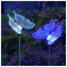 Solar Powered Butterfly Garden Stake Landscape Color Change Lights (Set of 2)(China)