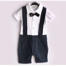 2016 Navy Blue Baby boy Tuxedo Rompers Gentleman body suit Babywear Bowties Retail Baby Clothes COTTON HJ