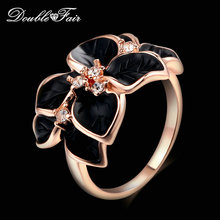 Double Fair Brand Romantic Leaf Black Drip oil Ring Rose Gold Silver Color Vintage Fashion Jewelry For Women DFR678 DFR679