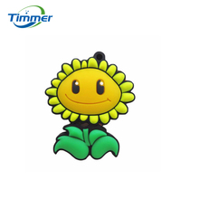Real capacity pendrive cartoon flower 8GB 16GB 32GB sunflower USB 2.0 usb flash drive memory Silicone Rubber Cute plant gift