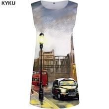 KYKU Brand City Dress Women Sky Office Dresses Ladies 3d Car Print Dress  Party Sexy Womens Clothing Casual Sleeveless Tunic New 4f5c6054d33e