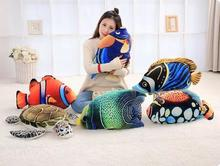 Candice guo plush toy stuffed doll cartoon animal 3D pattern sea life ocean Marine organism clown tropical fish turtle gift 1pc