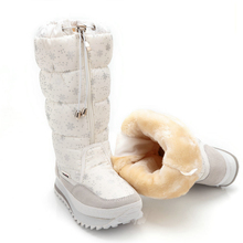 Size 35-43 Fashion Women Boots Plush Warm Snow Boots Ladies Winter Ankle Boots Waterproof Zipper White Colour Snow Flower Botas(China)