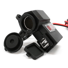 2.1A Dual USB Motorcycle Charger Cigarette Lighter Socket & Switch Button 12V~24V Dustproof Waterproof Smart Charger Hot