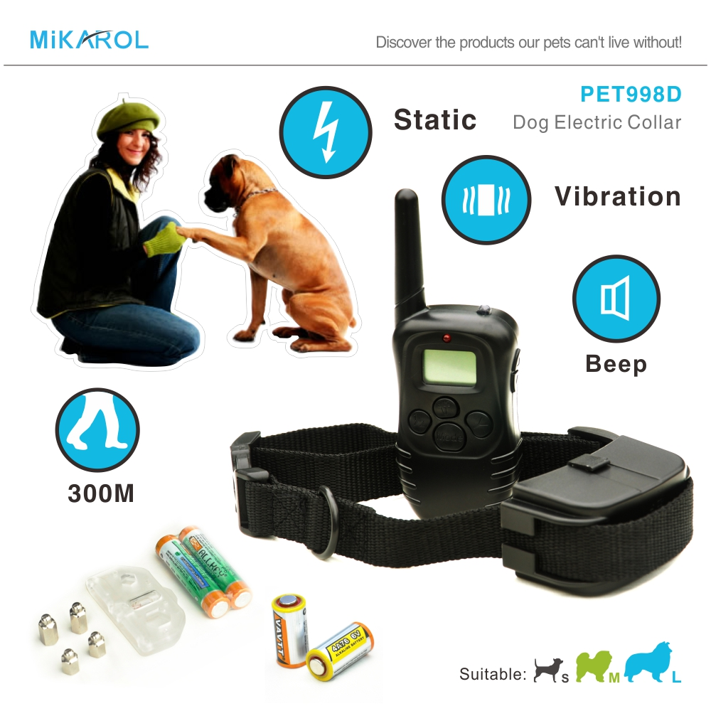 Dog collar training anti bark stop remote control pet training collar electric dog bark control with LCD display 300M(China)