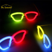 10Pcs Multi Color Glow Fluorescence Glasses LED Skull Glasses Light Luminous Sticks Neon Party Flashing Novelty Toy Random Color